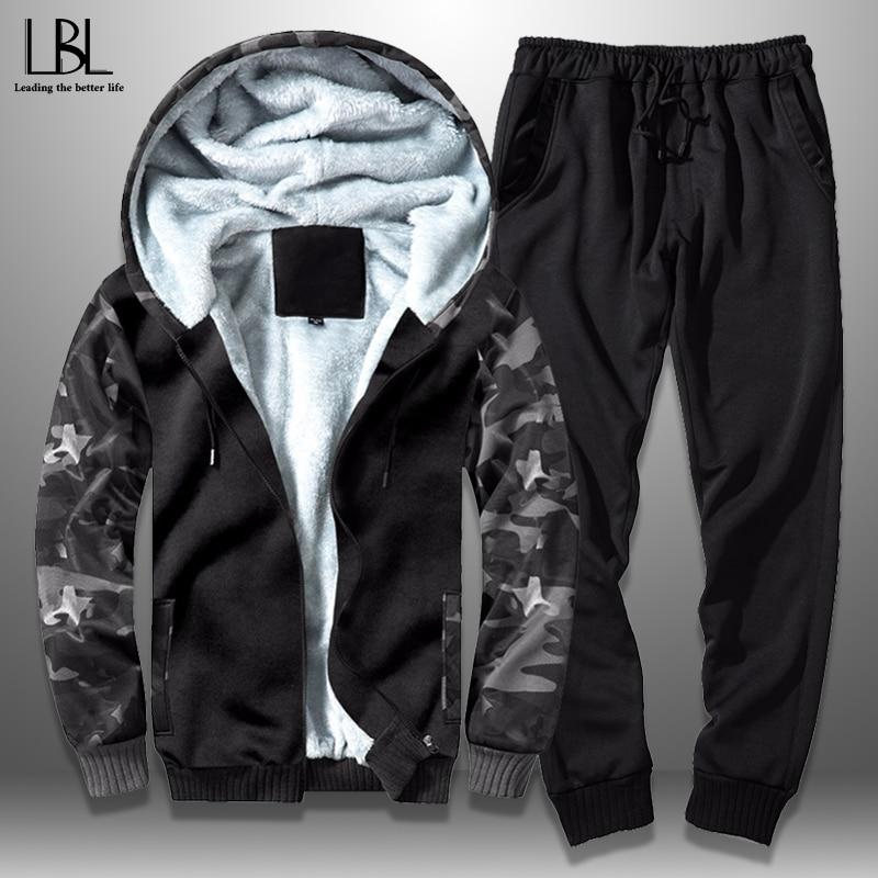 Winter Casual Men's Tracksuit Camouflage Sportswear Hooded Jacket Set 2 Piece Fleece Zipper Jackets +Elastic Waist Pants Outwear
