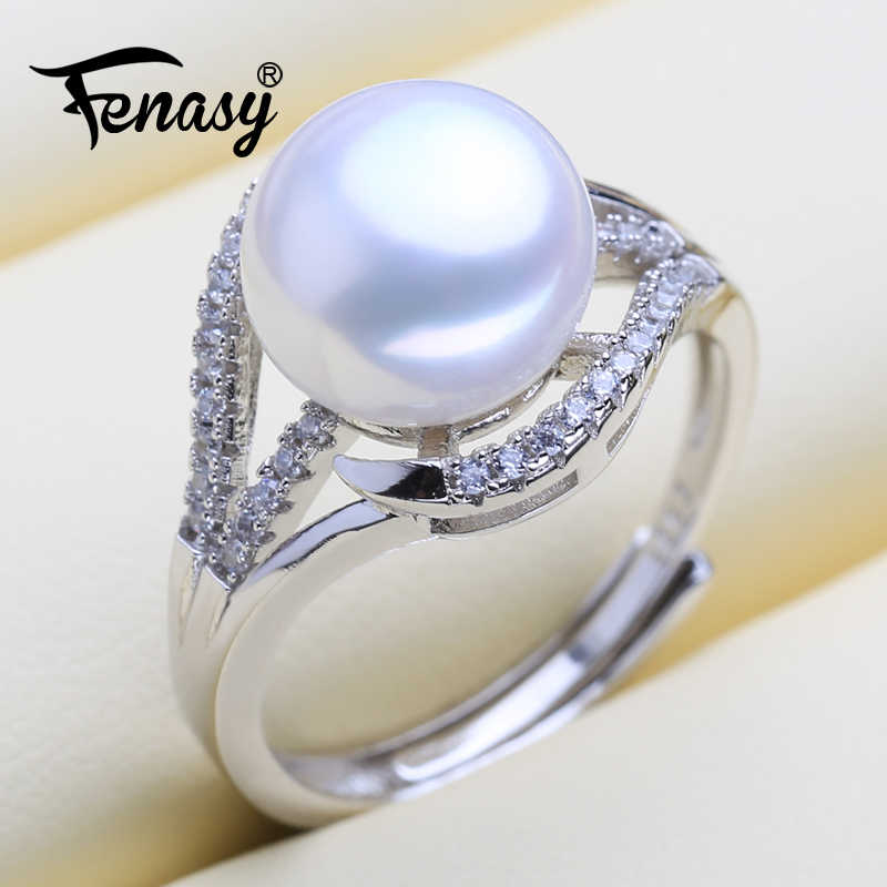 FENASY 925 Sterling Silver Rings Natural Freshwater Pearl Rings For Women New Classic Shining Party Engagement Wedding Ring