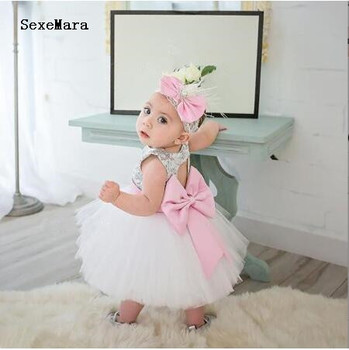 Bling Silver sequins with pink bow sash white tulle short baby girl 1 year birthday dress keyhole back tutu flower girl dresses