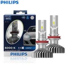 פיליפס x treme Ultinon LED H11 12V 11362XUX2 6000K מואר רכב LED פנס אוטומטי HL מנורת קרן + 200% יותר בהיר (Twin Pack)