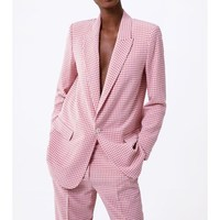 Fashion 2019 Women Single Button Pink Plaid Office Blazer Jacket Spring Long Sleeve Women's Blazer Suits