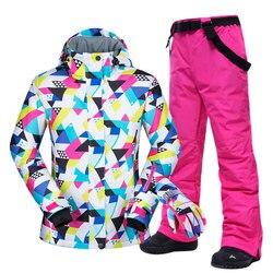 -30 °C cálido traje de esquí mujeres marca femenina chaqueta de esquí y pantalones caliente impermeable transpirable trajes de esquí y snowboard