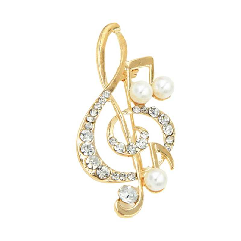 Fashion Rhinestone Alloy Brooch Pin Simulated Pearl Musical Note Brooches Jewelery For Women