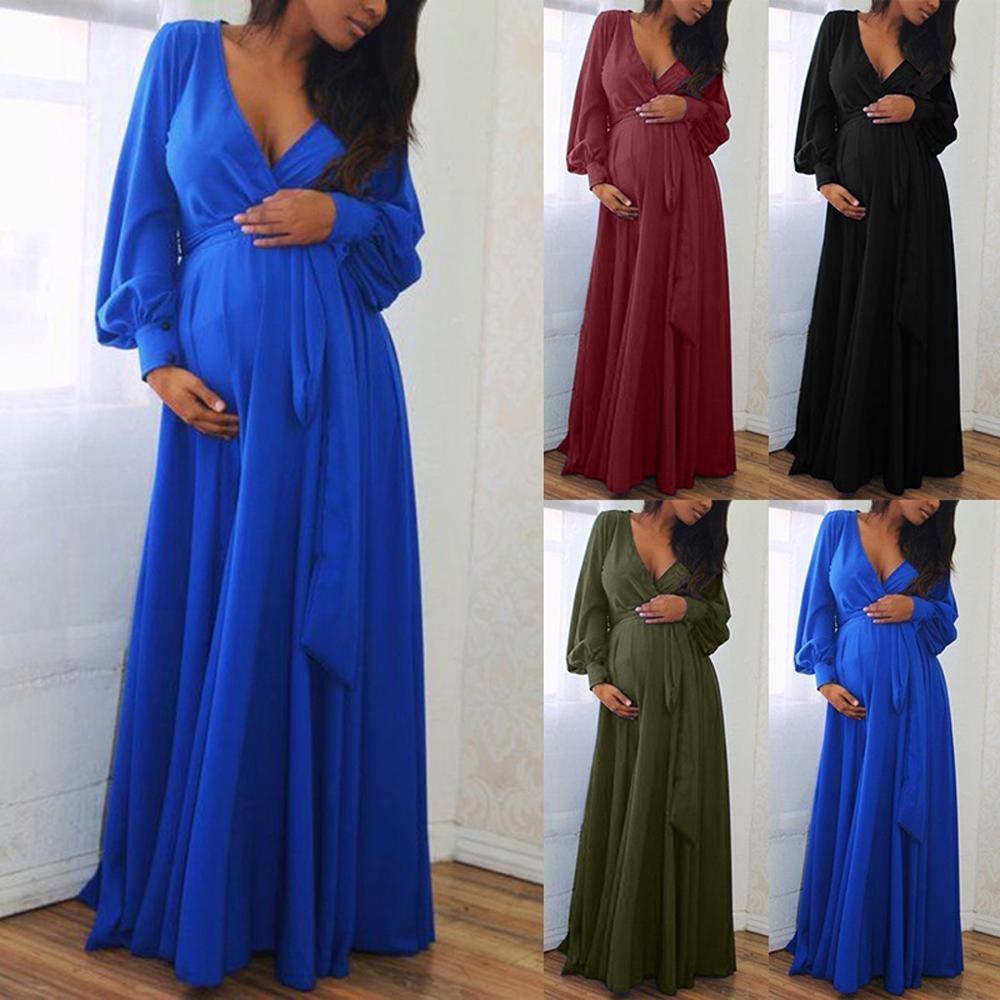 Wedding Dresses Pregnant Women Pregnant Maternity V-Neck Long Sleeve Solid Ruffles Frenulum Sexy Dress Embarazada A2