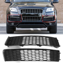 MagicKit Car Front Side Bumper Fog Light Grill Grille Vent Grille Grills Racing Grills Mesh Cover Trim For Audi Q7 S-Line 10-15 2013 2016 for peugeot 408 quality stainless steel car front bumper mesh grille around trim racing grills