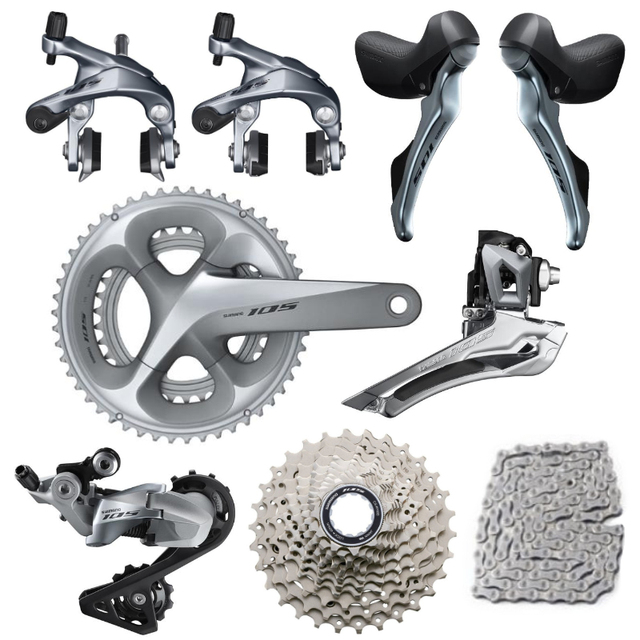 shimano 105 R7000 Silver Groupset R7000 Derailleurs ROAD Bicycle 2x11 speed 50 34 52 36 53 39T 170 172.5MM 12 25,11 28/30/32/34T