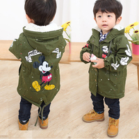 Baby Children Boys Girls Hooded Coat Autumn Winter Fleece Velvet Outfits Kids Windbreaker Miki Mouse Clothes For 2 3 4 5 6 Years