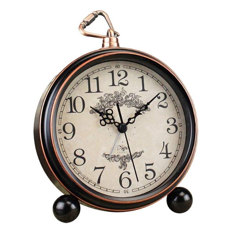 Digo Retro Alarm Clock European Battery Silent Desk Metal Table Quartz Roman Digital Clocks for Home Bedroom Kids,Bronze