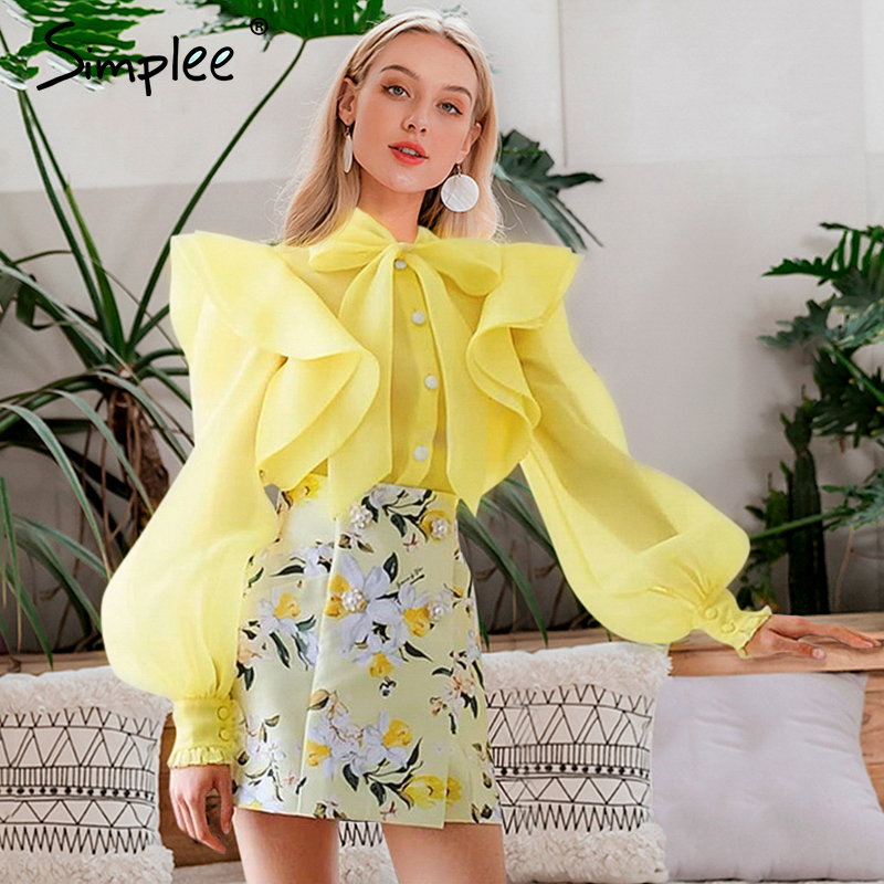 Simplee V Neck Sash Solid Chiffon Blouse Women Transparent Butterfl Sleeve Female Tops Shirts Ruffled Buttons Slim Lady  Blouses