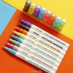 Markery metalowe z własnym konturem  8 szt. Długopis z podwójną linią BuIIet Journal długopisy i Colore -