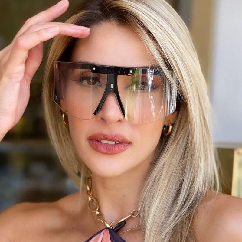 Gafas de sol de arco de una pieza para hombre y mujer, anteojos de sol unisex de marca lujosa, estilo Vintage de gran tamaño, medio Marco, color negro y transparente, 2021
