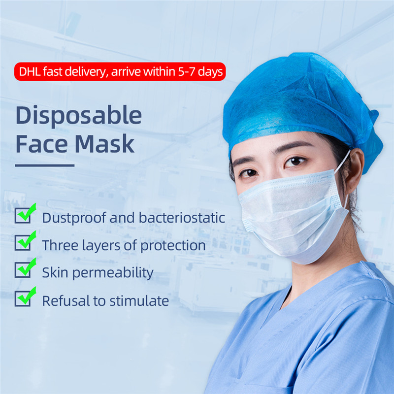 CC Face Mask Disposable Masks 3 Layer Safety Non Woven Mouth Masque Breathable Earloops Masker Fast Shipping Anti Dust Maske
