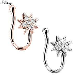 Alisouy 1 шт. поддельное кольцо для носа, кольцо для носа, искусственный пирсинг серьги на Козелок, простое Ювелирное кольцо в нос