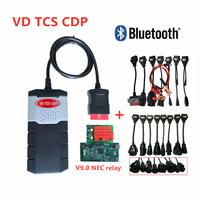 FREE SHIP vd tcs cdp V9.0 green pcb with bluetooth 2015R3 software kygen scanner for delphis obd2 + 16pcs car/truck cables
