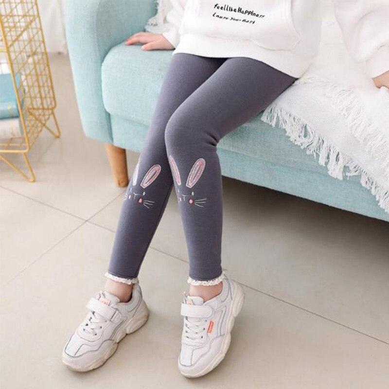 girl leggings winter 2021 cartoon Embroidery Velvet Elastic Waist Warm Legging 2-12 Years Old Girl Trousers kids pants 2