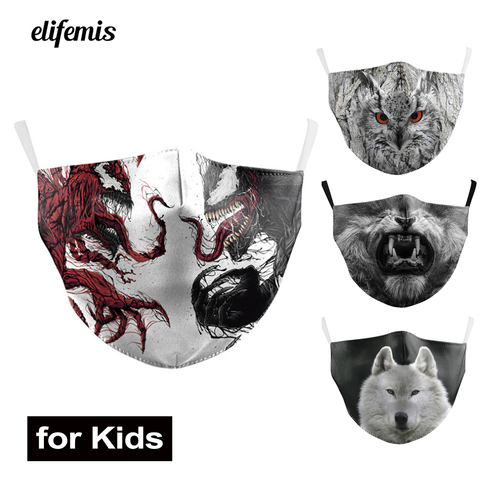 Kids Mouth Masks Venom Cute Owl Octopus Wolf Animal Print Washable Fabric Face Masks PM 2.5 Protective Dust Children Flu Proof