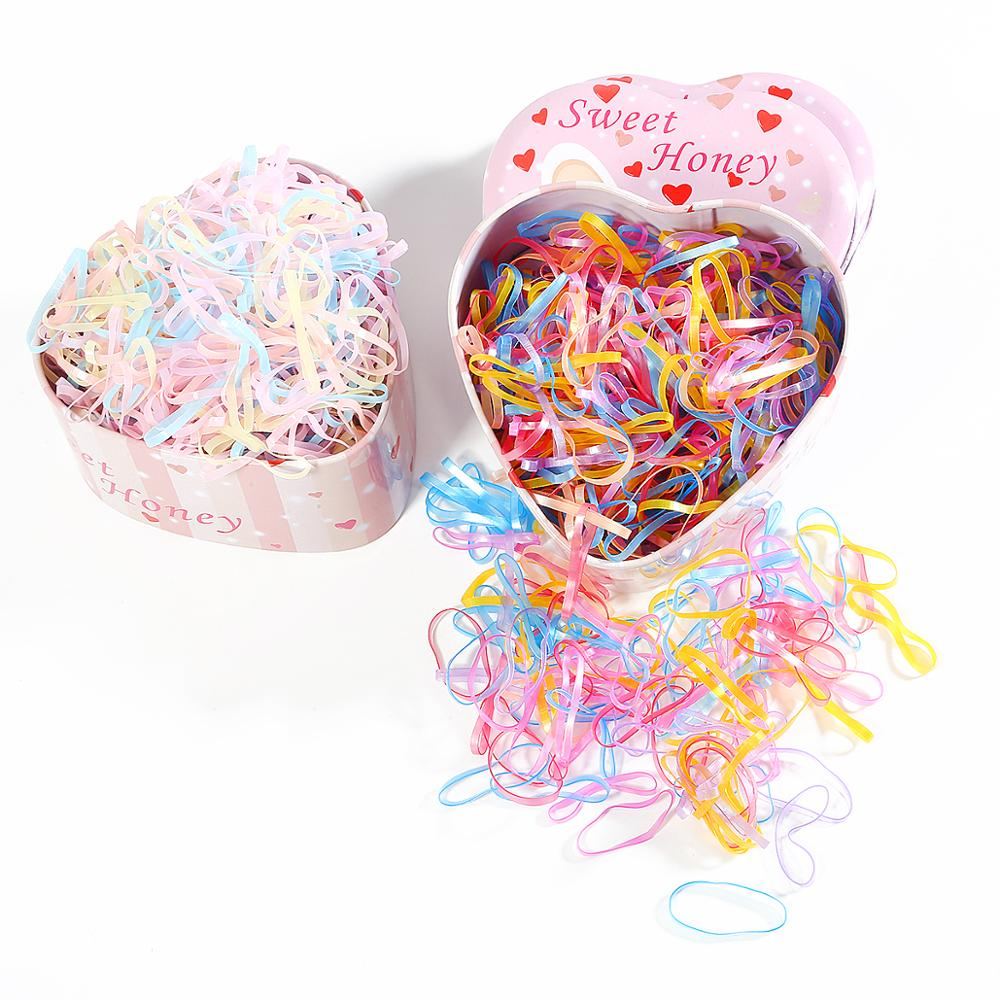 1000pcs/lot Hair Ties Gum For Girls Scrunchies TPU Rubber Bands Ponytail Holder Elastic Hairbands Haar Opaska Hair Accessories