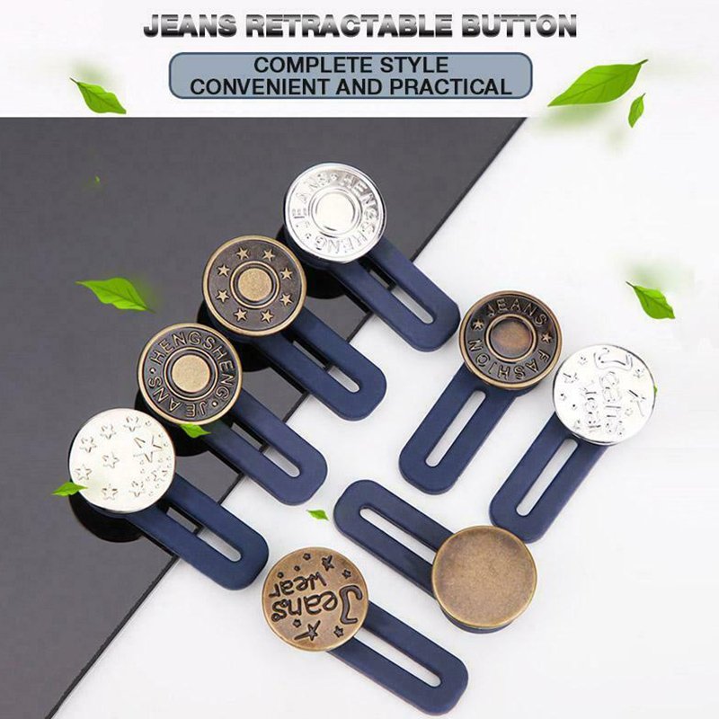 10pcs Jeans Retractable  Fastener Metal Buttons For Clothing Perfect Fit Adjust Button Self Increase Reduce Waist 17mm Diy  Sew