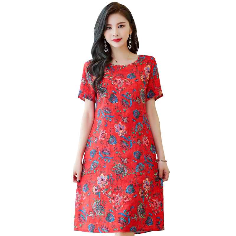 Women Summer Dress Elegant Plus Size 6XL Loose Middle-aged Mother Short Sleeve Long Dress O-Neck Floral Print Cotton Linen Dress(China)