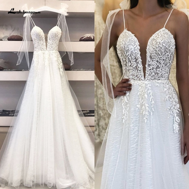 Deep V-neck Sexy Bridal Wedding Dress 2021 Robe Boheme Glitter Tulle New Mariage Wedding Gowns Vestidos Boho Wedding Dresses 1