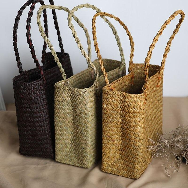 Women Small Handbags Tote 2020 Summer Straw Handmade Beach Bag Girls Rattan Shoulder Bag Clutch Purse Hand Bags