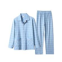 2 шт хлопок мужчины% 27 пижамы комплект повседневный полосатый длинный рукав лацкан воротник одежда для сна весна лето домашняя одежда ночное белье