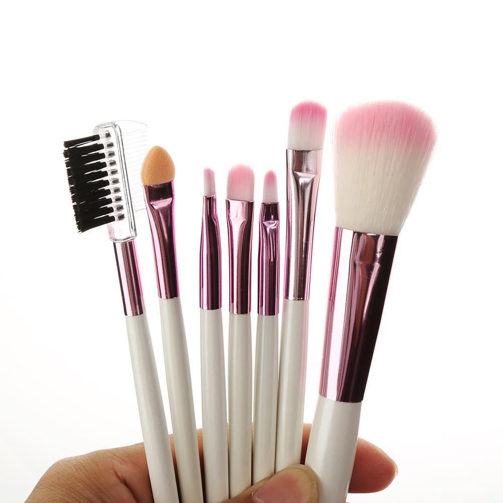 7 Pcs Set Foundation Powder Blush Professional Makeup Brushes Set Eye Shadow Eyeliner Eyelash Lip Brushes