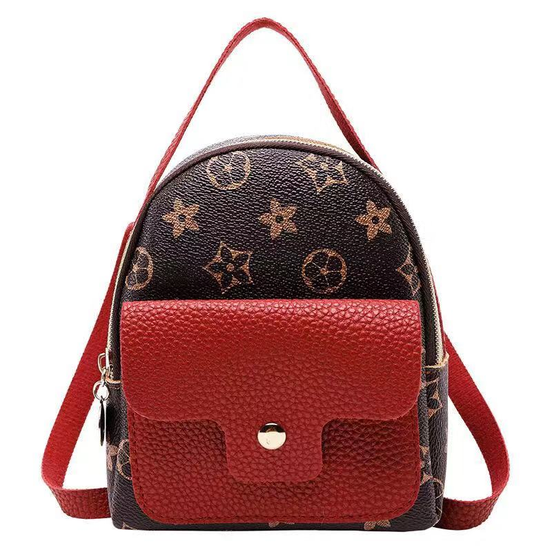 Mini Women Backpack Travel Small Shoulder Bag Splice PU Leather Mini Schoolbag Flower Pattern Teenage Girls Cute Backpack