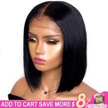 Peluca de cabello humano liso de 13x4 para mujer, postizo de encaje Frontal, corte Bob, malla con división en T, Color Natural brasileño, Remy, 8-16 pulgadas