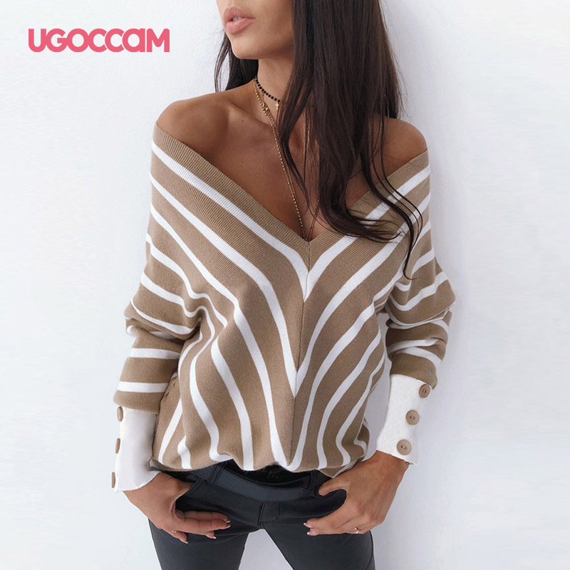 UGOCCAM Sexy V Neck Shirt Women Stripe Autumn Long Sleeve Off Shoulder Stripe Blouses Shirts Casual Loose Tops Shirts Blusas