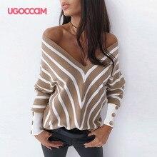 UGOCCAM Sexy V neck Shirt Women Stripe Autumn Long Sleeve Off Shoulder Stripe