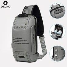 남자에 대 한 새로운 OZUKO 다기능 Crossbody 가방 Anti theft 가슴 팩 가방 남성 짧은 여행 방수 어깨 메신저 가방 2020