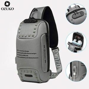 Image 1 - חדש OZUKO משולב Crossbody שקיות עבור גברים נגד גניבת חבילת חזה תיק זכר קצר טיול עמיד למים כתף שליחי תיק 2020