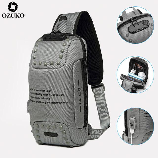 חדש OZUKO משולב Crossbody שקיות עבור גברים נגד גניבת חבילת חזה תיק זכר קצר טיול עמיד למים כתף שליחי תיק 2020
