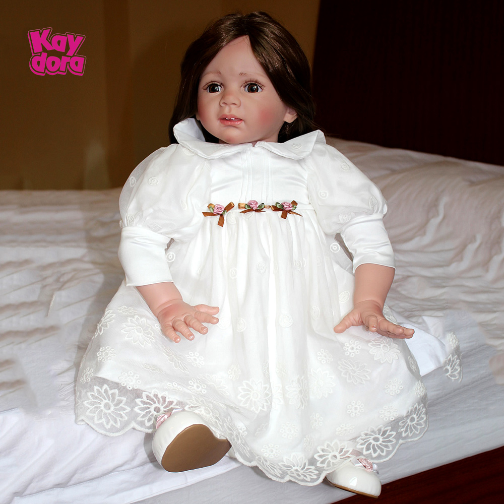 """Reborn Baby Doll Silicone Toddler Girl Handmade Gifts Realistic 24/"""" Toy Birthday"""