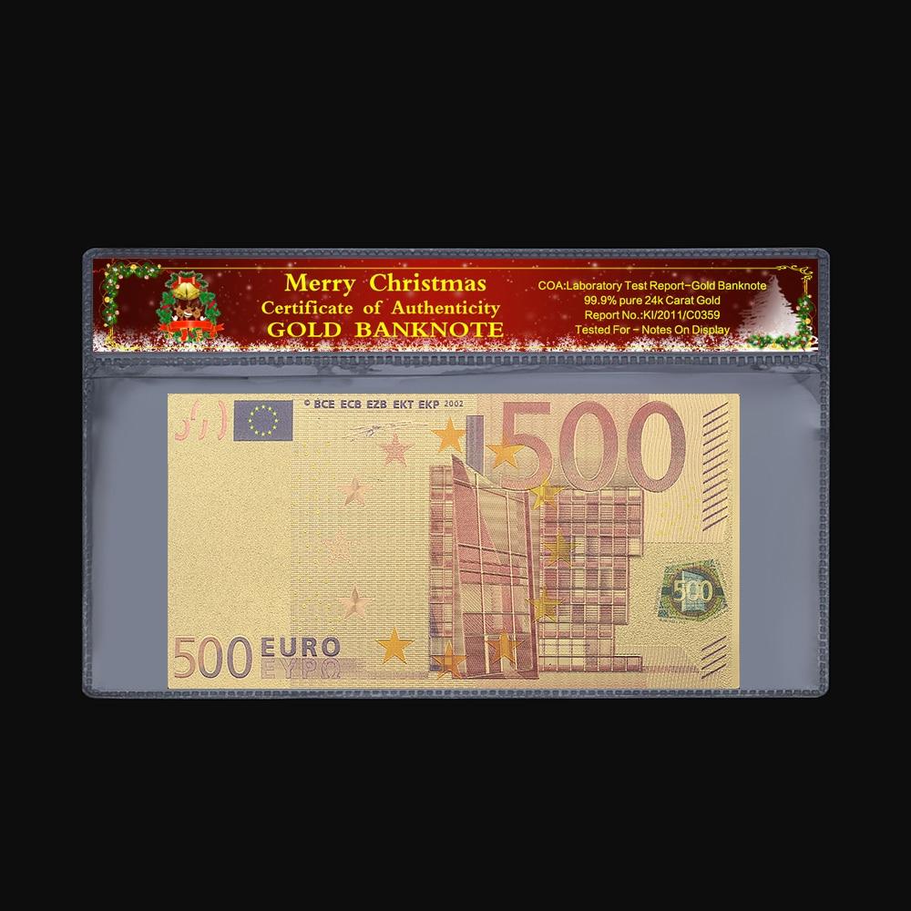7pcs//Set Euro Banknote Gold Foil Paper Money Crafts Collection Bank DIY Curr BS