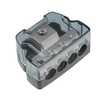 Bornera de 4 vías + 1, multifuncional, práctico, duradero, Bloque de Distribución de Energía, Entrada 0AWG y salidas 4AWG  1
