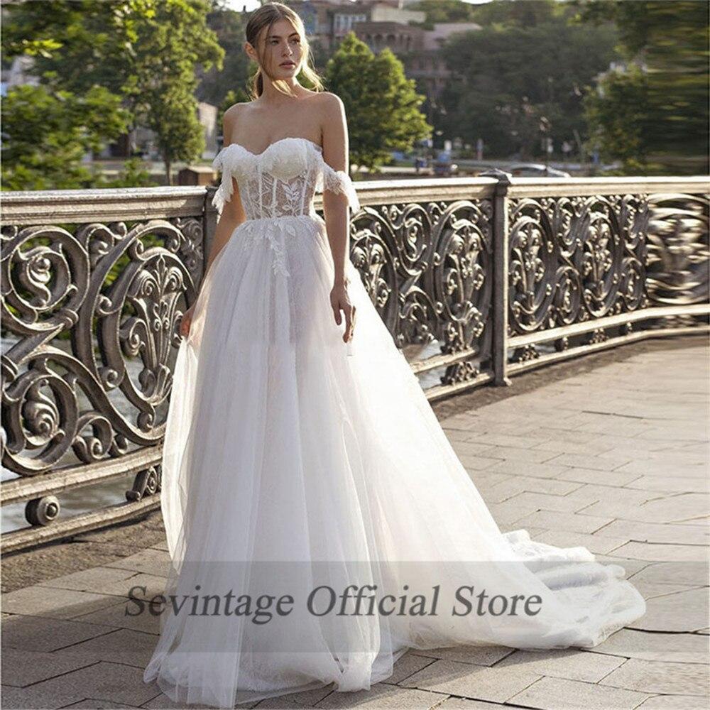 Sevintage A Line Sweetheart Boho Wedding Dresses Off the Shoulder Lace Appliqued Beach Bridal Gowns Vestido De Noiva Princesa