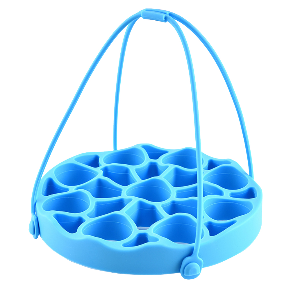 Silicone Tray Basket Practical Heat Resistant Soft Pressure Cooker Mat Steamer Rack Round With Sling Multifunctional Accessories