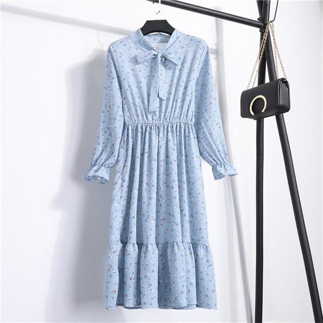 Женское шифоновое платье в горошек, платье с воротником-стойкой и длинным рукавом, с цветочным принтом, лето 2020 5