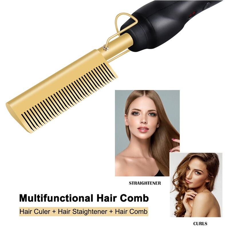 Hair Bush Straightener Curler  Flat Irons Straightening Brush Hot Heating Comb Hair Straight Styler Corrugation Iron Curling