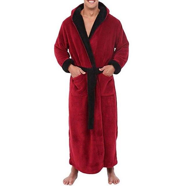 Mens Hooded Flannel Bathrobe 6