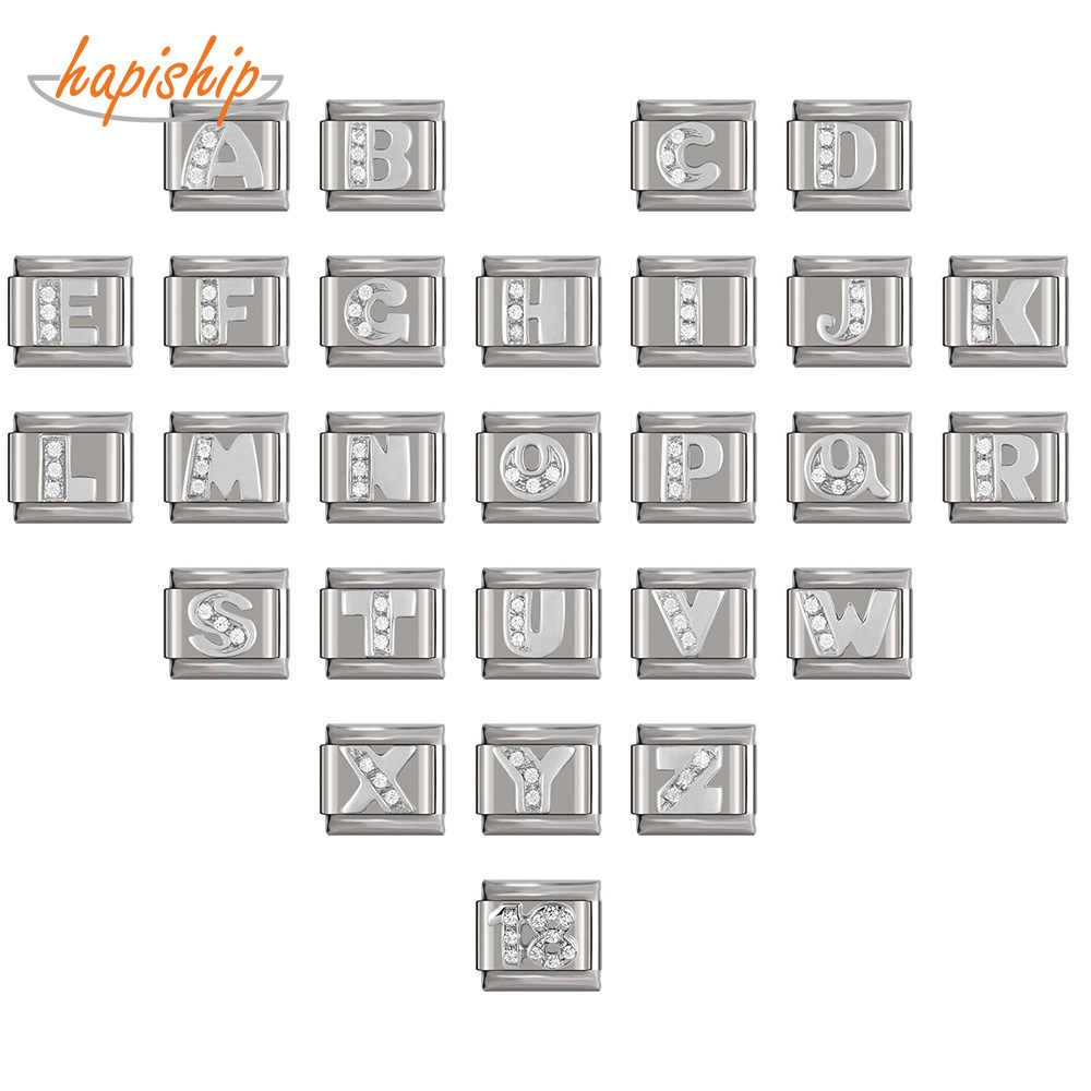 Hapiship 2019 9 мм ширина Оригинал Маргаритка серебро 26 букв A-Z итальянский Шарм Подходит 9 мм браслет из нержавеющей стали для изготовления ювелирных изделий DJ228