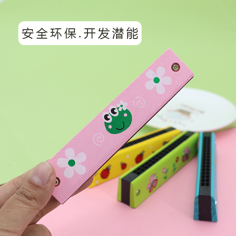 Wood Harmonica Cartoon Toys Children Creative Music Gift 16 Hole Hamonica Young STUDENT'S Prizes Wind Instruments