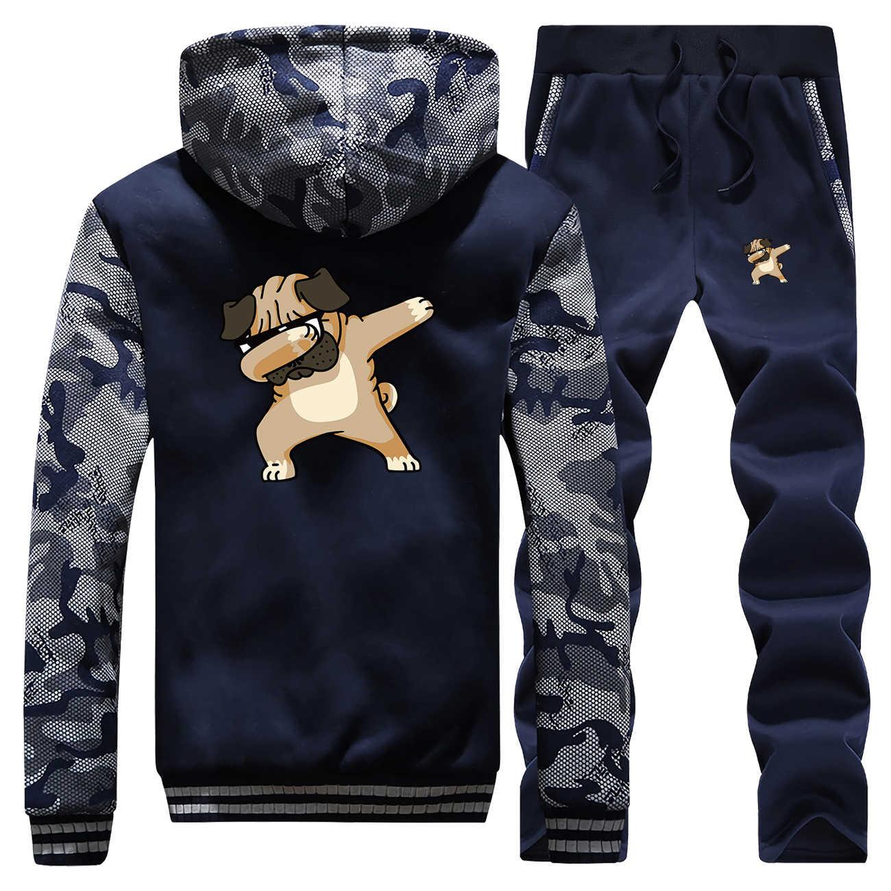 Hip Hop Hond Grappige Print Jassen Heren Camo Set Mode Casual Streetwear Animal Compleet Man Trainingspak Winter Fitness Sweatshirt