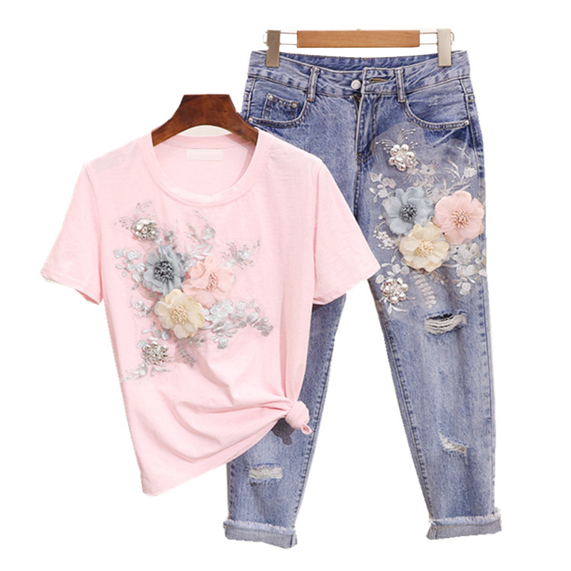 Women Embroidery 3D Flower Tshirts + Jeans 2pcs Clothing Sets Summer Casual Suits Top Abd Pants Shiort Sleeve Tshirt
