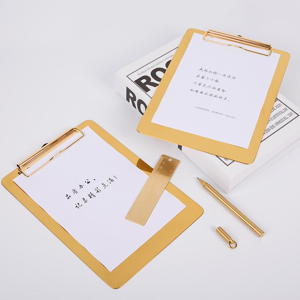 Adeeing Multifunction Gold Color Stainless Steel Menu File Holder Board For Writing D25