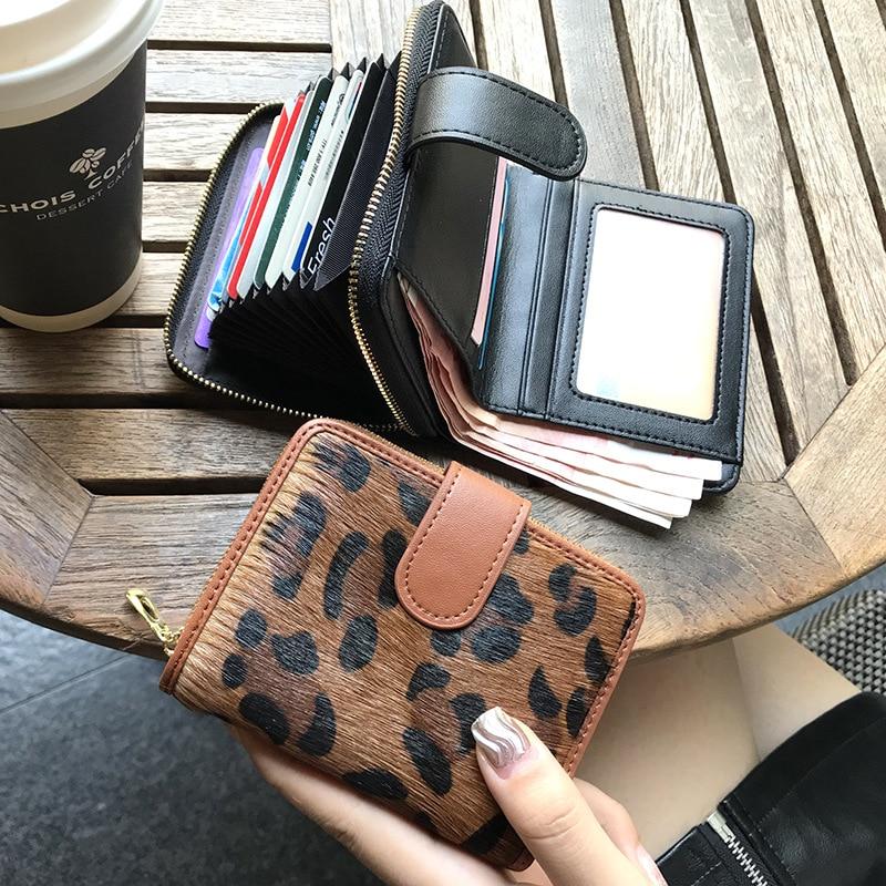 Women Horse Hair Short Wallet Leopard Business Bank/ID/Credit Card Holder Zipper Coin Purse Girls Ladies Fashion Hasp Handbag