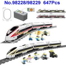 98228/98229 647pcs battery powered technic electric train high-speed rail diy building blocks Toy(China)