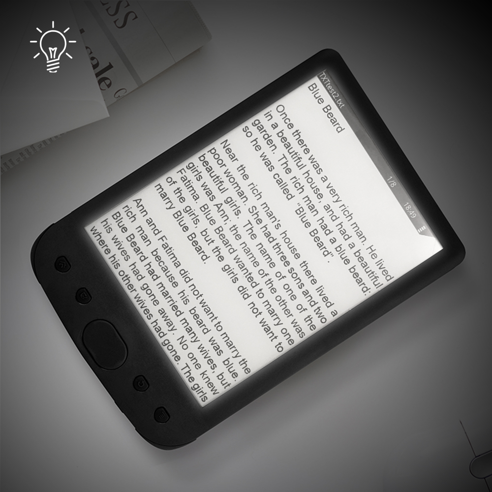 6 Inch E-Book Reader E-Ink Screen Glare-free With USB Cable PU Cover Built-in Light 8GB Memory Storage E-reader Support TF Card